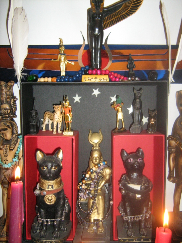 Middle of the shrine, featuring Aset/Isis, and Bast's Netjeri, amongst other Deities